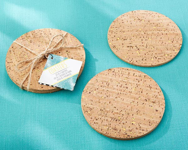 Tropical Chic Gold Glitz Cork Coasters
