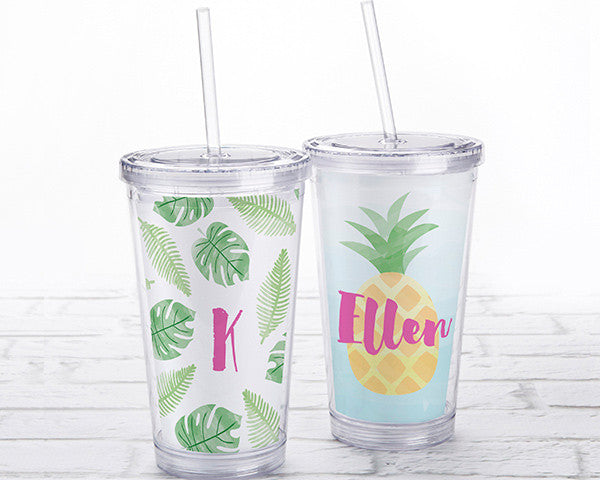 Acrylic Tumbler with Personalized Insert - Pineapples and Palms