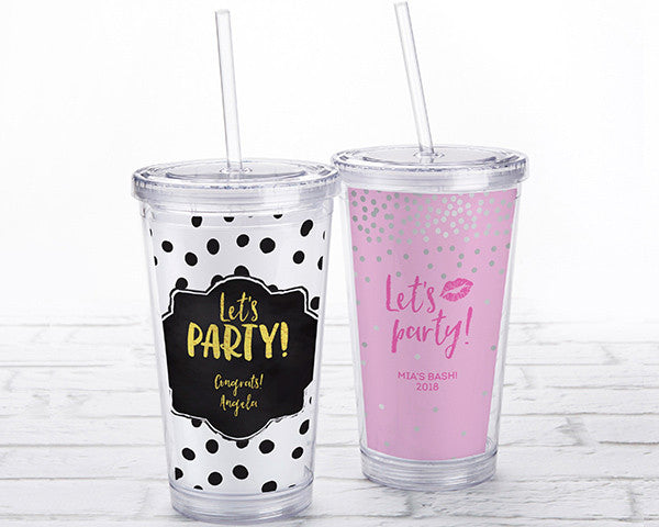 Acrylic Tumbler with Personalized Insert - Let's Party