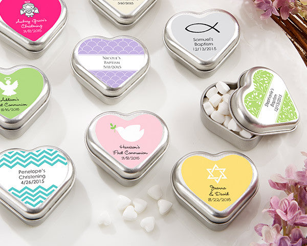 """Mint For You"" Brushed-Metal Heart-Shaped Mint Tin - Religious (Available Personalized)"
