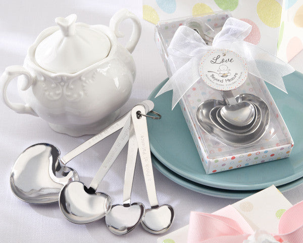 """Love Beyond Measure"" Stainless-Steel Measuring Spoons Baby Shower Favor"