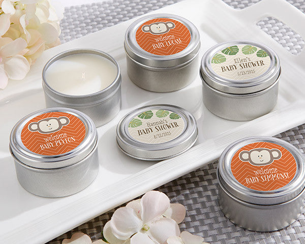 Personalized Travel Candle-Kate's Born To Be Wild Baby Shower Collection
