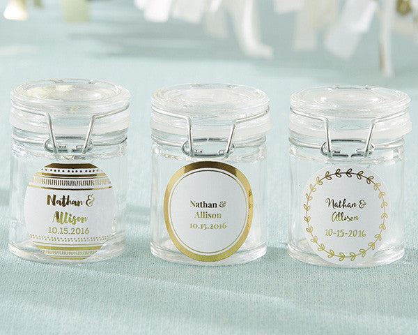 Personalized Glass Favor Jars - Gold Foil (Set of 12)