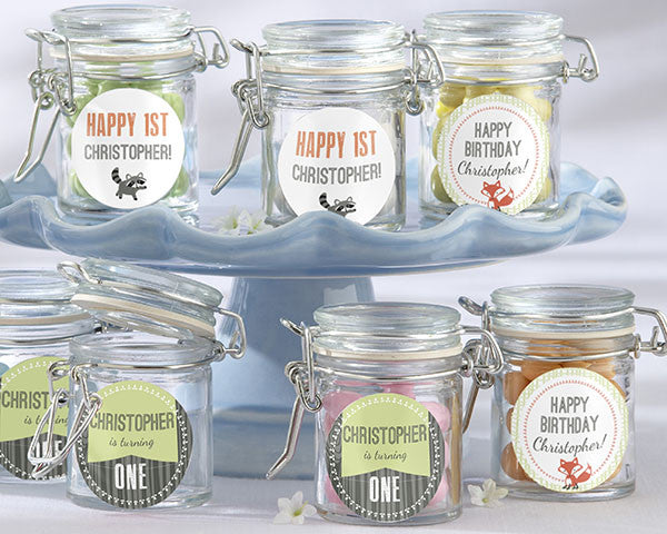 Personalized Glass Favor Jars - Kate's Woodland Birthday Collection (Set of 12)