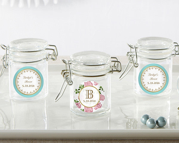 Personalized Glass Favor Jars - Tea Time (Set of 12)