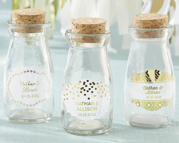 Personalized Milk Jar - Gold Foil (Set of 12)