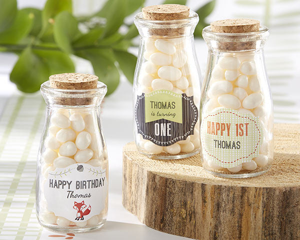 Personalized Milk Jar - Kate's Woodland Birthday Theme Collection (Set of 12)