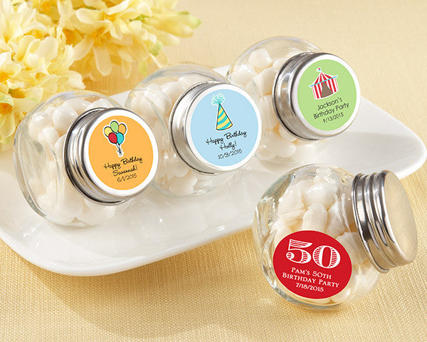 Mini Glass Favor Jar - Birthday (Set of 12) (Available Personalized)