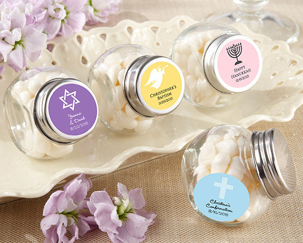 Mini Glass Favor Jar - Religious (Set of 12) (Available Personalized)
