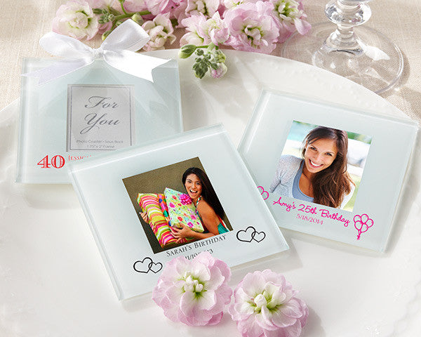 Personalized Frosted-Glass Photo Coaster -Set of 12 (Birthday Designs)