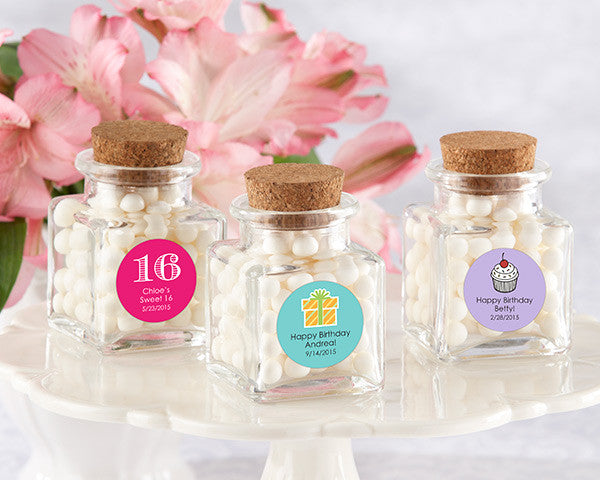 """Petite Treat"" Square Glass Favor Jar - Birthday (Set of 12) (Available Personalized)"