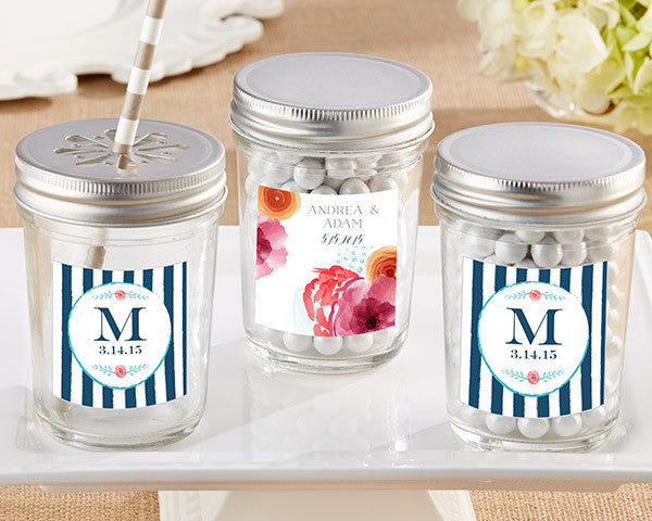 Personalized Glass Mason Jar - Botanical (Set of 12)