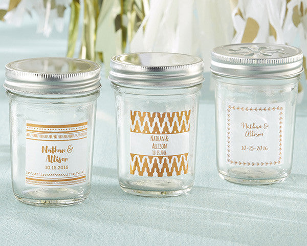 Personalized Glass Mason Jar - Copper Foil (Set of 12)