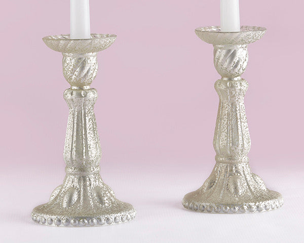 Light Champagne Frosted Mercury Glass Candlesticks