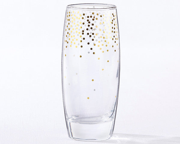 Gold Confetti 12 oz. Stemless Champagne Glass (Set of 4)