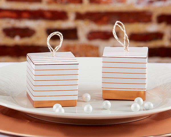Striped Copper Foil Favor Box (Set of 24)