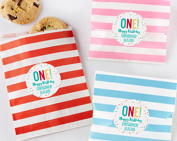 Striped Paper Favor Bags - 1st Birthday (Set of 25)
