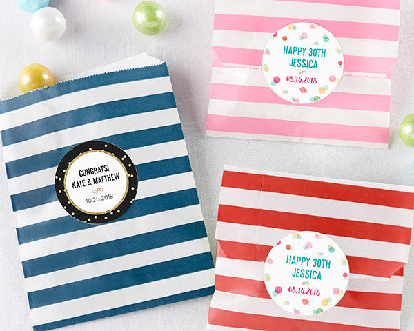 Striped Paper Favor Bags - Party Time (Set of 25)