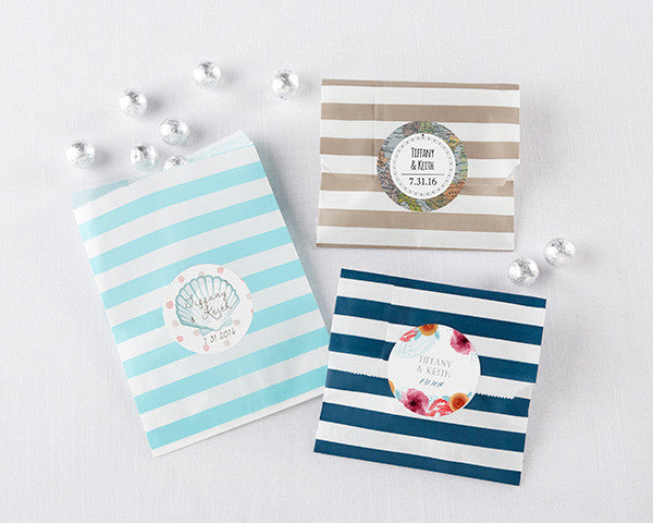 Striped Paper Favor Bags - Wedding (Set of 25)