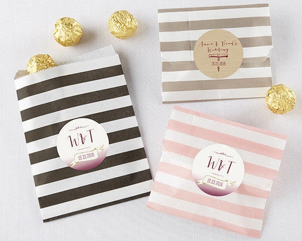 Striped Paper Favor Bags - Vineyard (Set of 25)