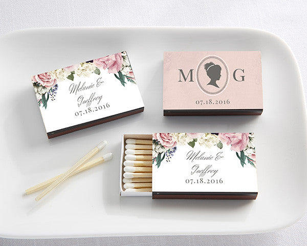 Personalized Black Matchboxes - English Garden (Set of 50)