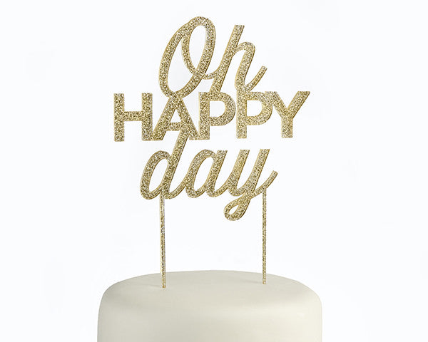 Gold Glitter Oh Happy Day Acrylic Cake Topper
