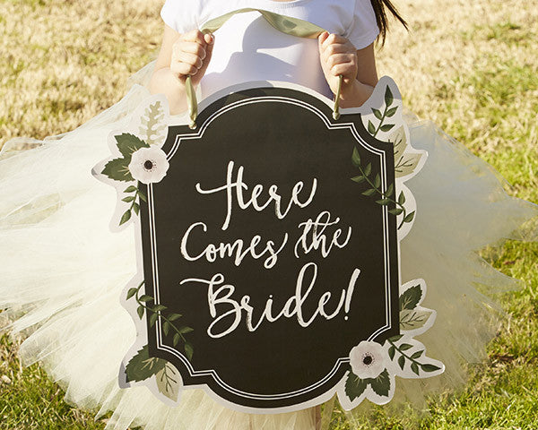 "Romantic Garden ""Here Comes The Bride"" Sign"