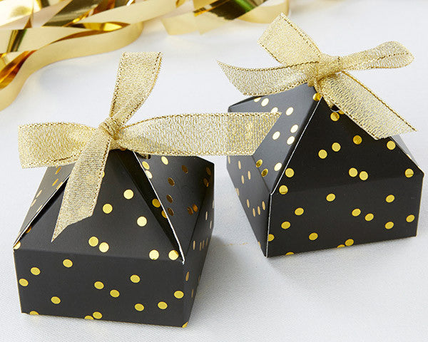 Black With Gold Foil Dot Pyramid Shaped Favor Box (Set of 24)