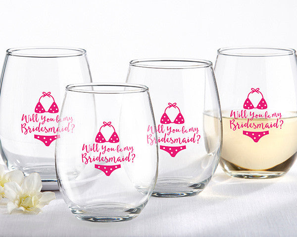 Will You Be My Bridesmaid Beach Bikini 15 oz. Stemless Wine Glass (Set of 4)