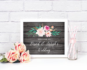 Floral Garden Custom Text Wedding Sign