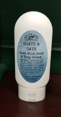 4 oz Goat Milk Hand & Body Cream with Oatmeal and Aloe