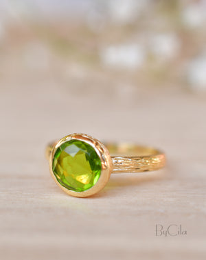 Leticia Ring * Peridot hydro * Gold Plated 18k * SBJR116