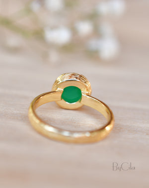 Leticia Ring * Green Onyx * Gold Plated 18k * SBJR115