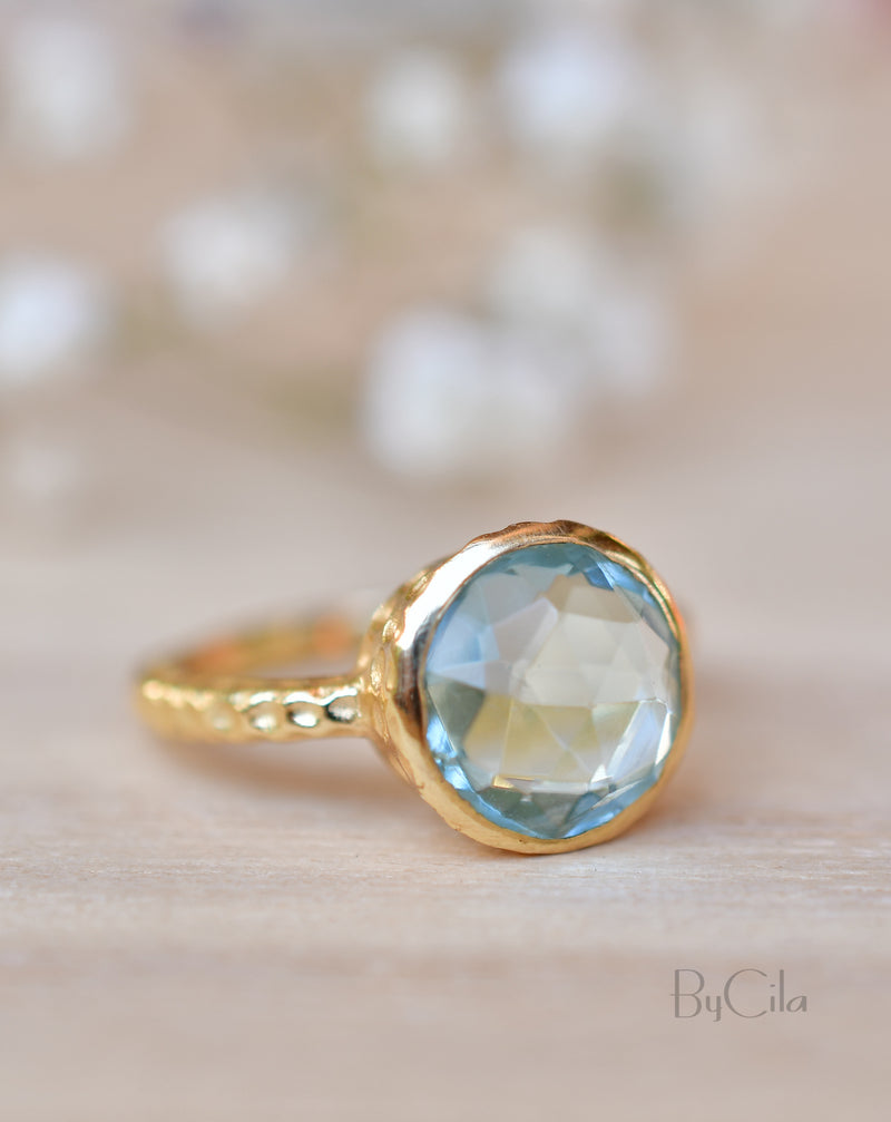 Marcela Ring * Blue Topaz * Gold Plated 18k * SBJR113