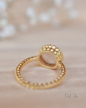 Marcela Ring * Rose Quartz * Gold Plated 18K * SBJR110