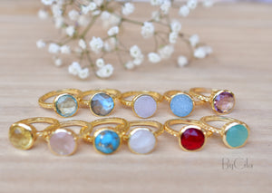 Marcela Ring * Rainbow Moonstone * Gold Plated 18k * SBJR107