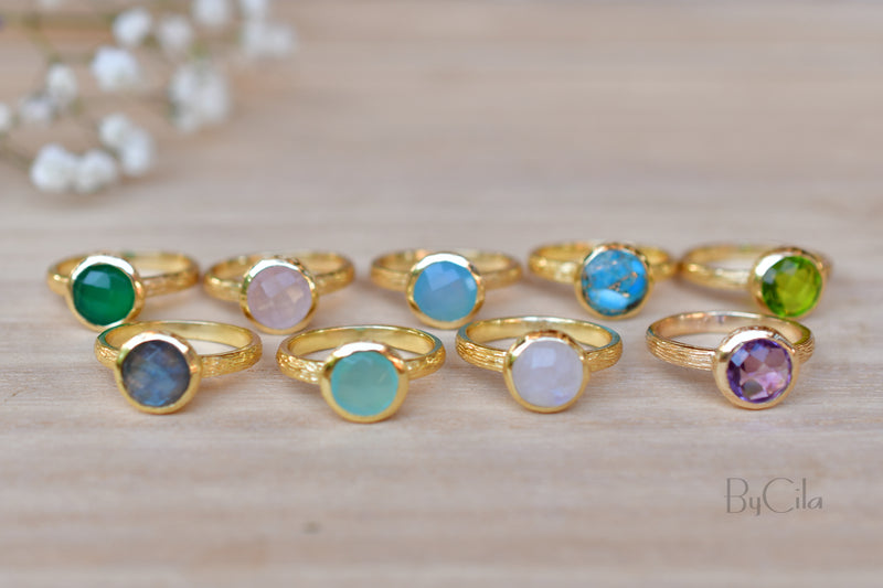Leticia Ring * Blue Chalcedony * Gold Plated 18k * SBJR119