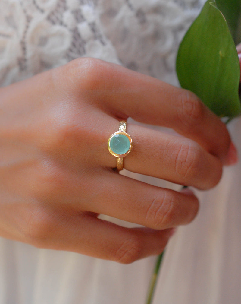 Leticia Ring * Aqua Chalcedony * Gold Plated 18k * SBJR117