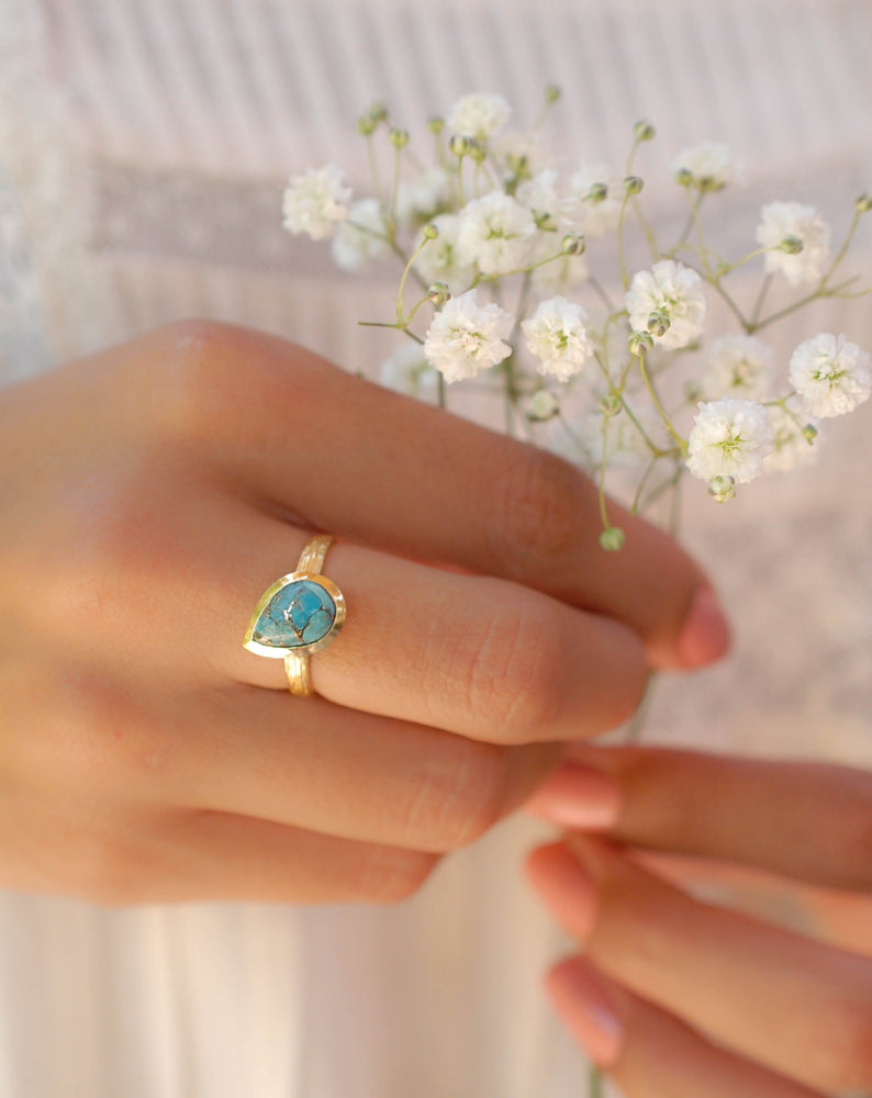 Beatriz Ring * Copper Turquoise * Gold Plated 18k * SBJR128