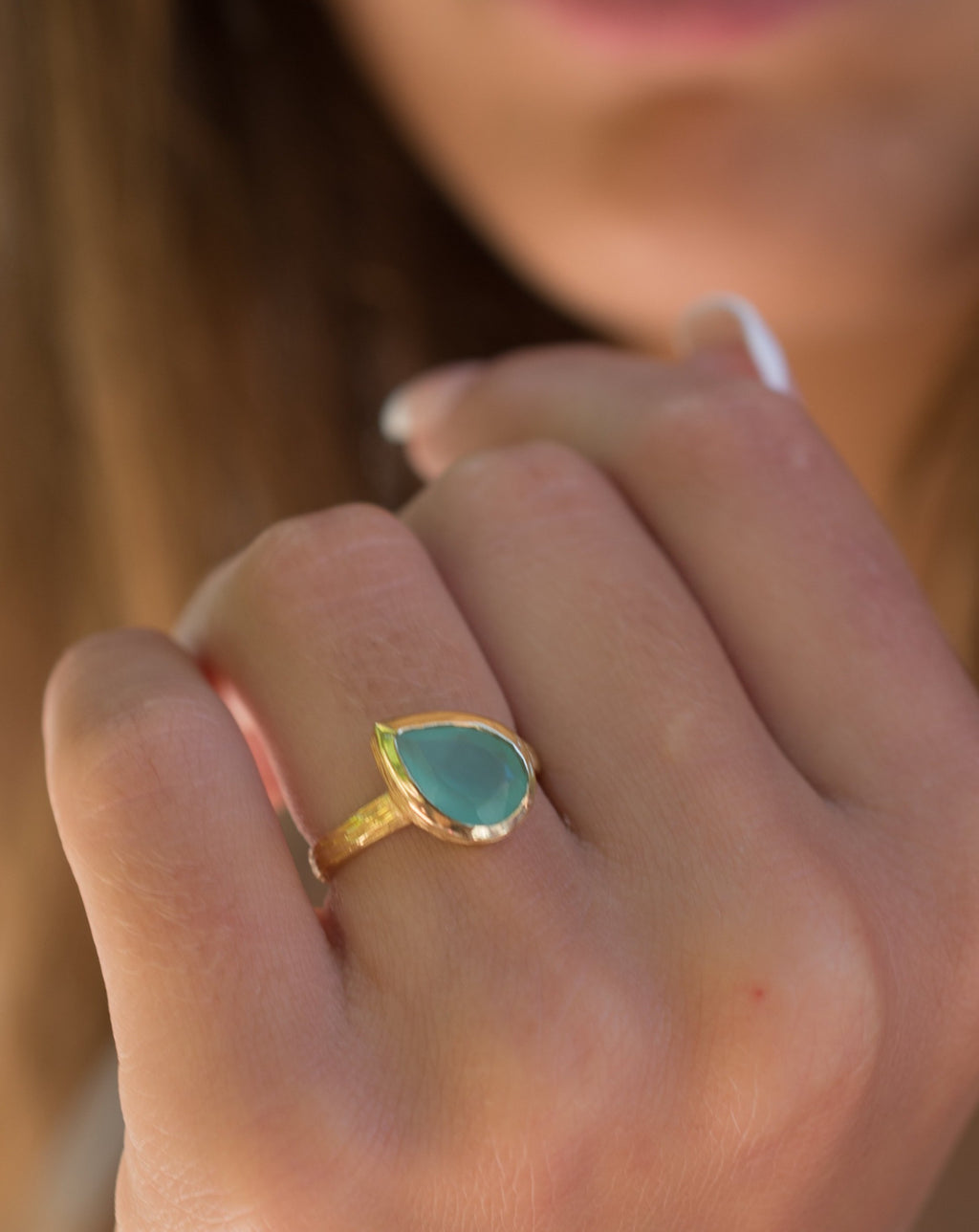 Beatriz Ring * Aqua Chalcedony * Gold Plated 18k * SBJR124