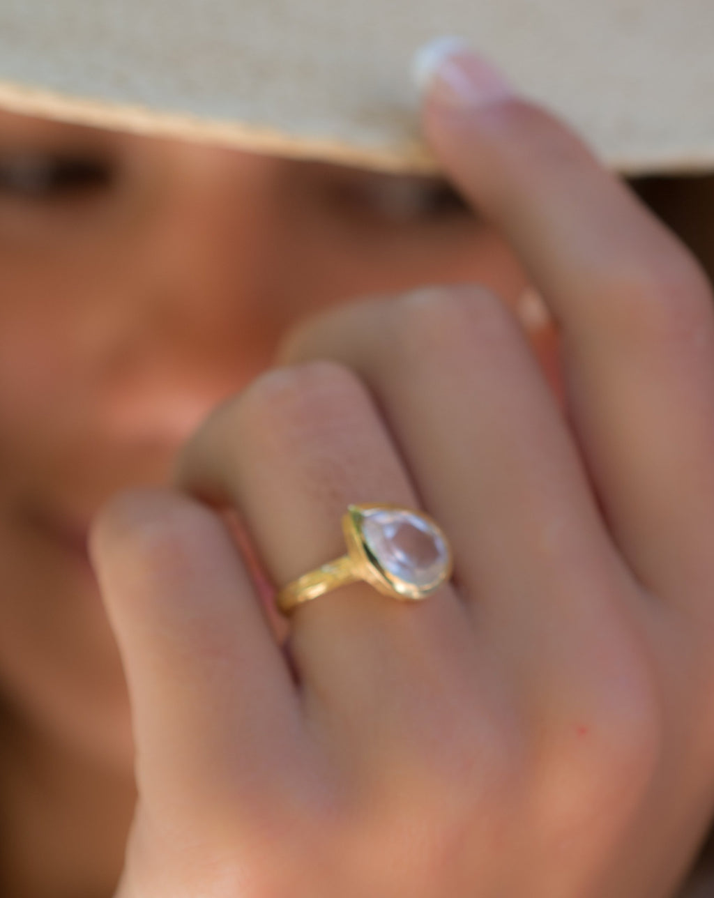 Beatriz Ring * Rose Quartz * Gold Plated 18K * SBJR126