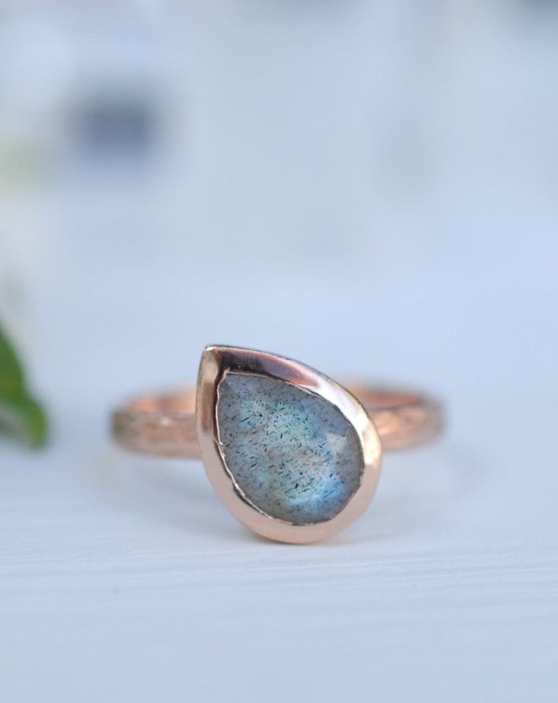 Beatriz Ring * Rainbow Labradorite * Rose Gold * BJR212