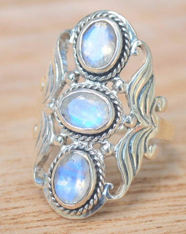 Lilian Labradorite & White Topaz Ring - Rose Gold  (BJR139)