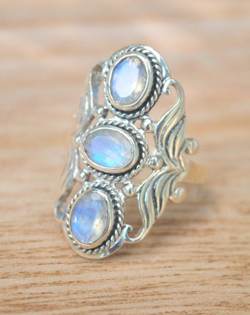 July Ring * Moonstone * Sterling Silver 925 * BJR189