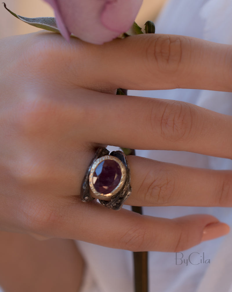 Ceylan Ring * Ruby * Sterling Silver 925 oxidized * SBJR007