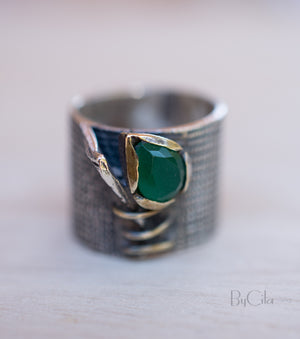 Feray Ring * Green Onyx hydro * Sterling Silver 925 * SBJR024