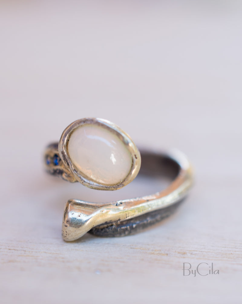 Merve Ring * Opal and Sapphire * Sterling Silver 925 * SBJR022