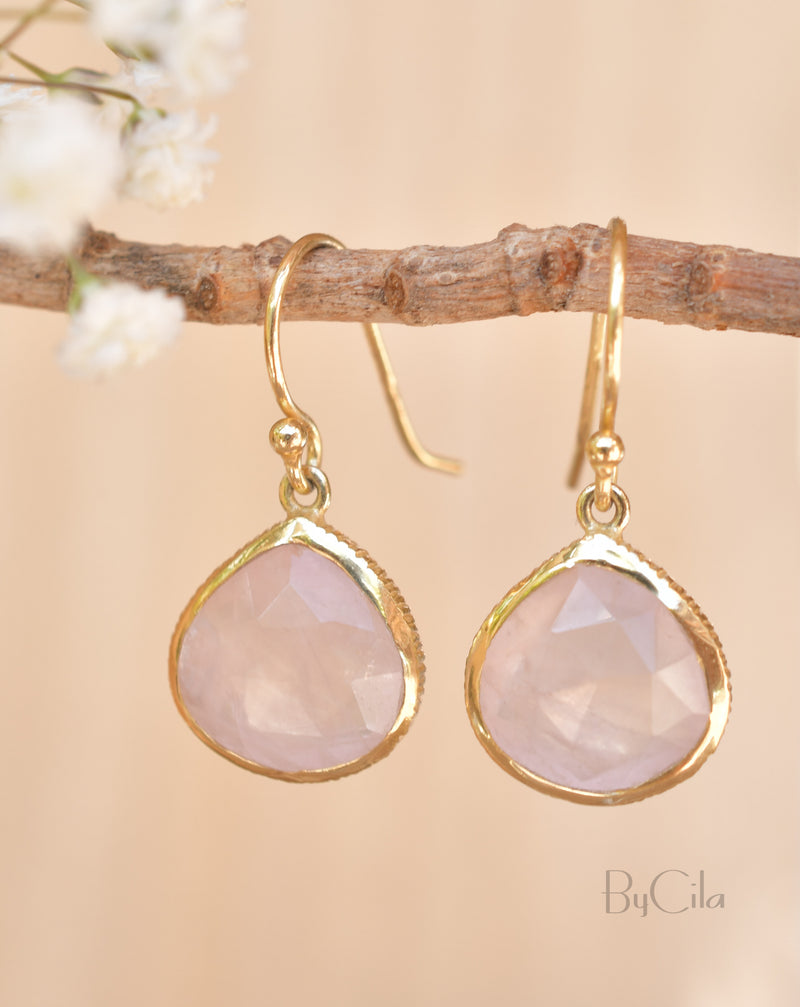 Lihue Earrings * Rose quartz * Gold Plated 18k or Sterling Silver 925 * BJE065B
