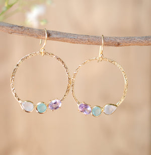 Esther Earrings * Rainbow Moonstone, Aqua Chalcedony & Amethyst  * Gold Plated 18k * BJE093