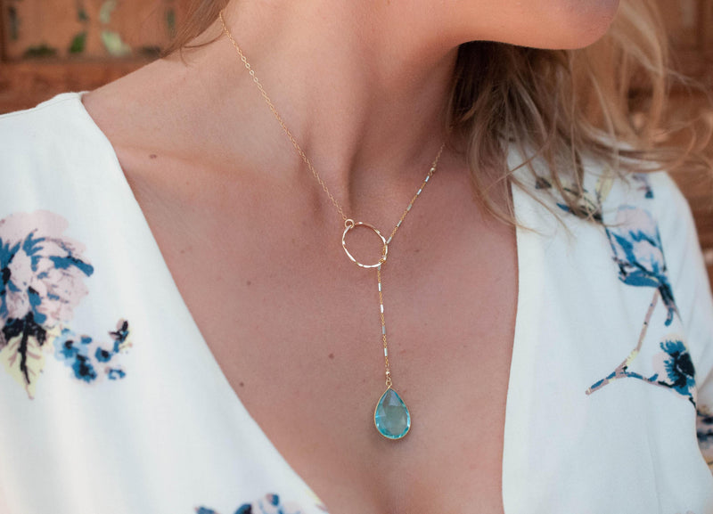 Bela Lariat Necklace * Blue Topaz * Gold Filled or Sterling Silver * BJN001-9I